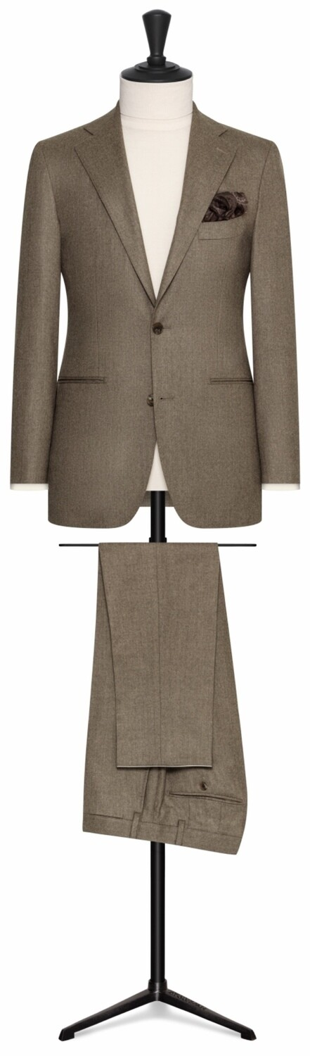 Tan Wool Flannel Single Breasted Notch Lapel Two Button with Lower Besom Pockets and Side Vents