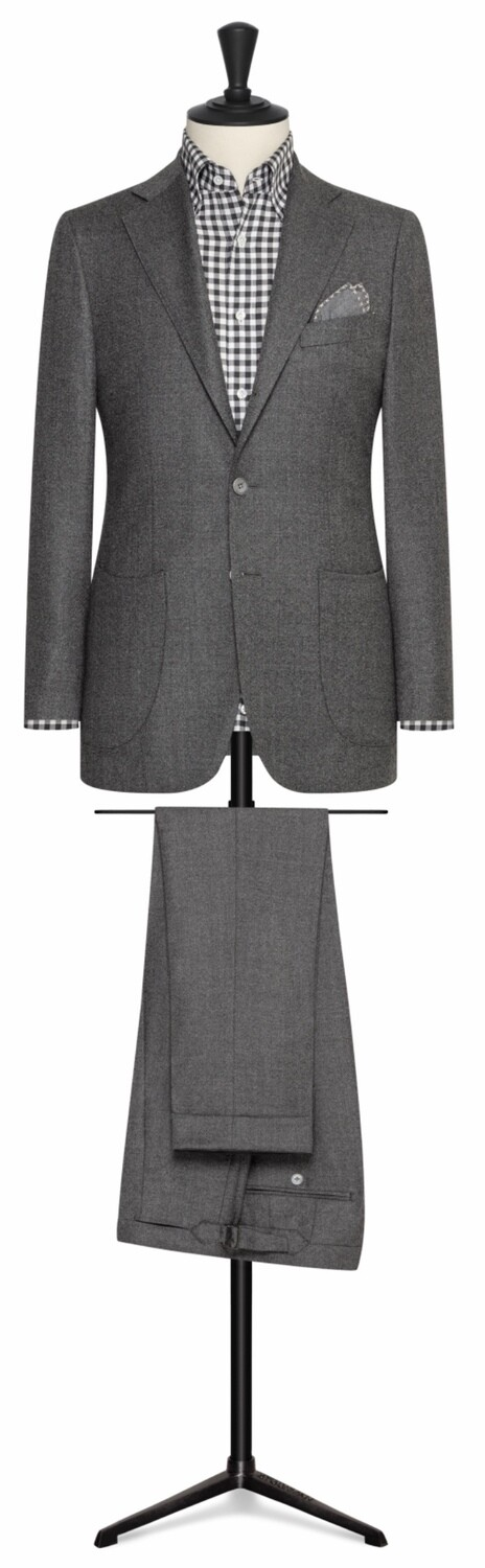 Solid Grey Wool Flannel Single Breasted Notch Lapel Two Button Model With Lower Patch Pockets and Side vents