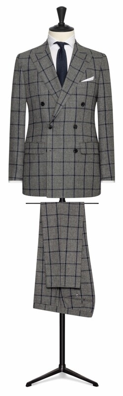 Medium Grey w/ Navy Blue Window Pane Double Breasted Peak Lapel Suit with Lower Flap Pockets and Side Vents. All Wool