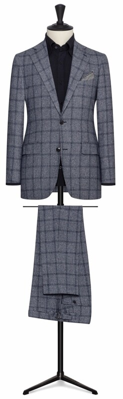 Blue w/Navy Blue Double Pane Window Pane Single Breasted Notch Lapel Two Button Suit Model w/ Lower Flap Pockets and Side vents.