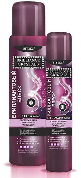 Витэкс   Brilliance Crystals   ЛАК для волос Бриллиантовый блеск, сверхсильная эластичная фиксация, 215 мл