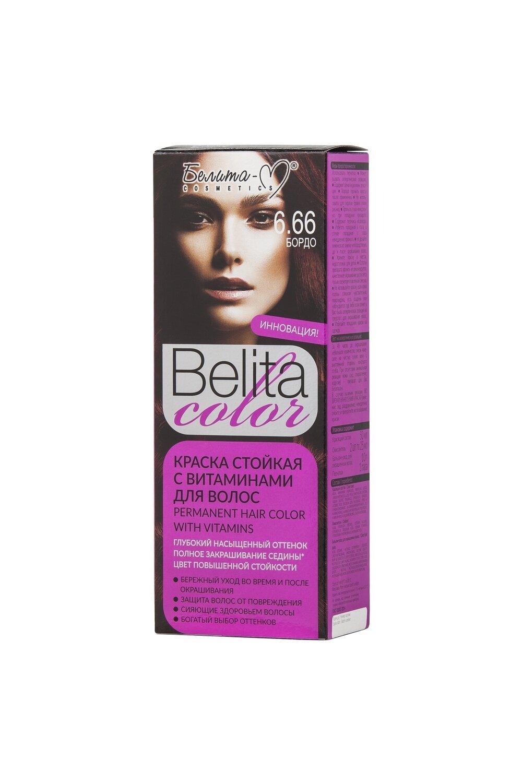 КРАСКА стойка с витаминами для волос Belita Сolor   тон 06.66 Бордо   Belita-M