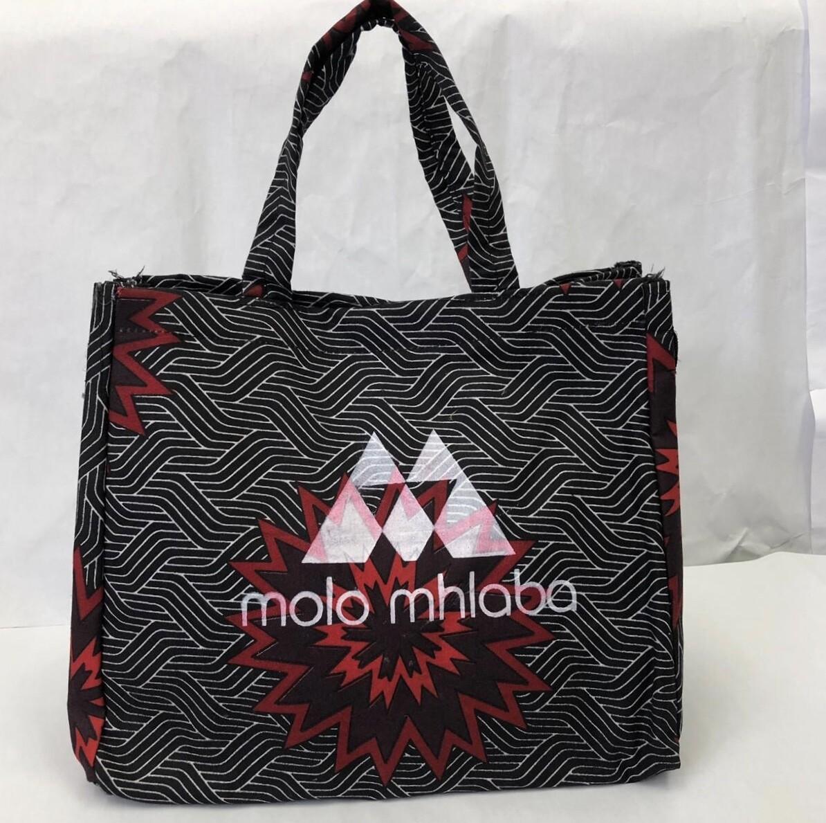 Geometric red/black pattern handbag