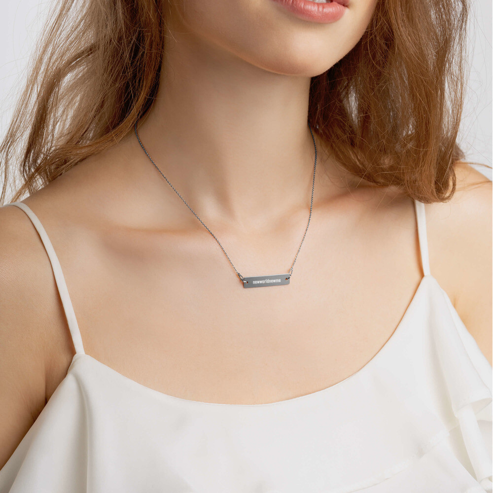 Engraved Silver Bar Chain Necklace