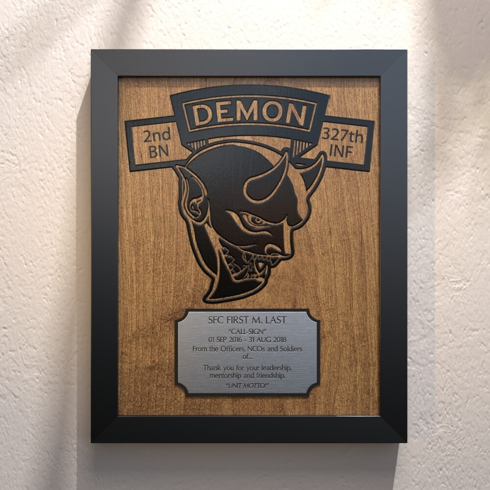 """Demon Co 2-327th INF Plaque - 13.5""""x10.5"""""""