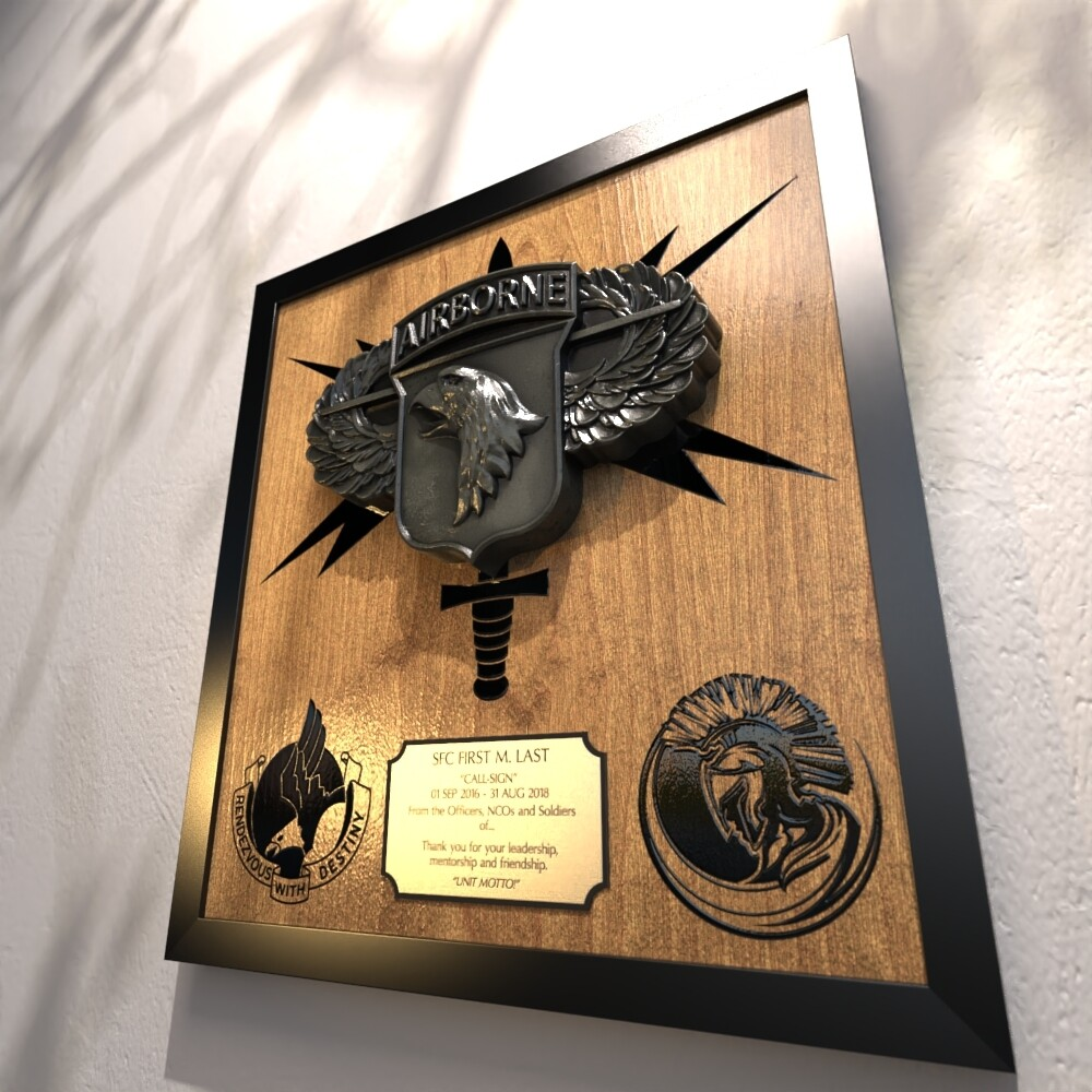 """Centurions 101st HHBn Plaque - 17.5""""x16.5"""""""