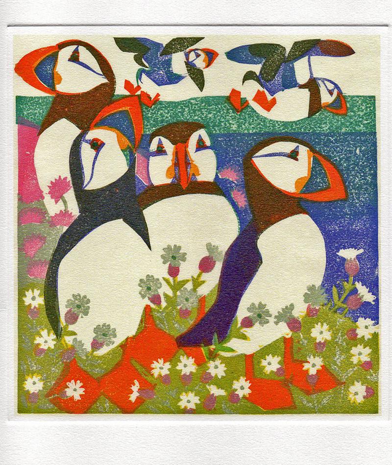 Puffins - Printmakers Art Card