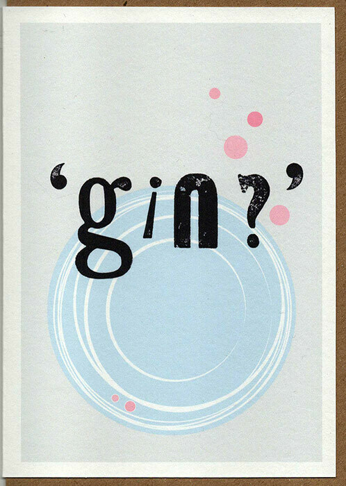 'Gin' -Wooden type set Card