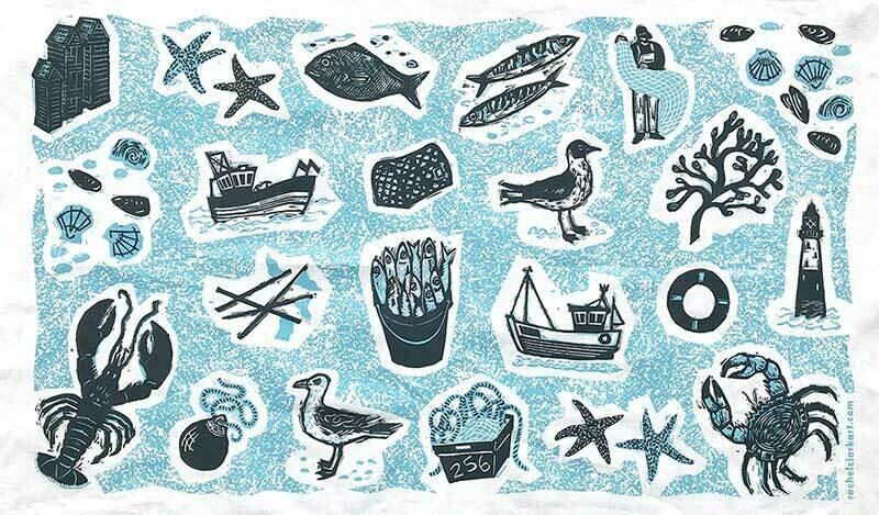 Fishing -Tea Towel