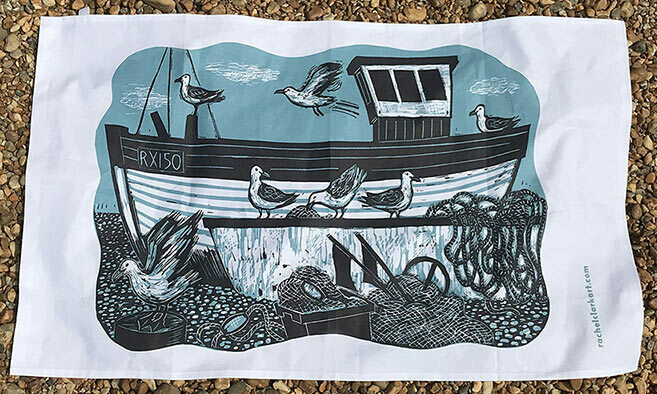 Fishing Boats and Gulls Tea Towel