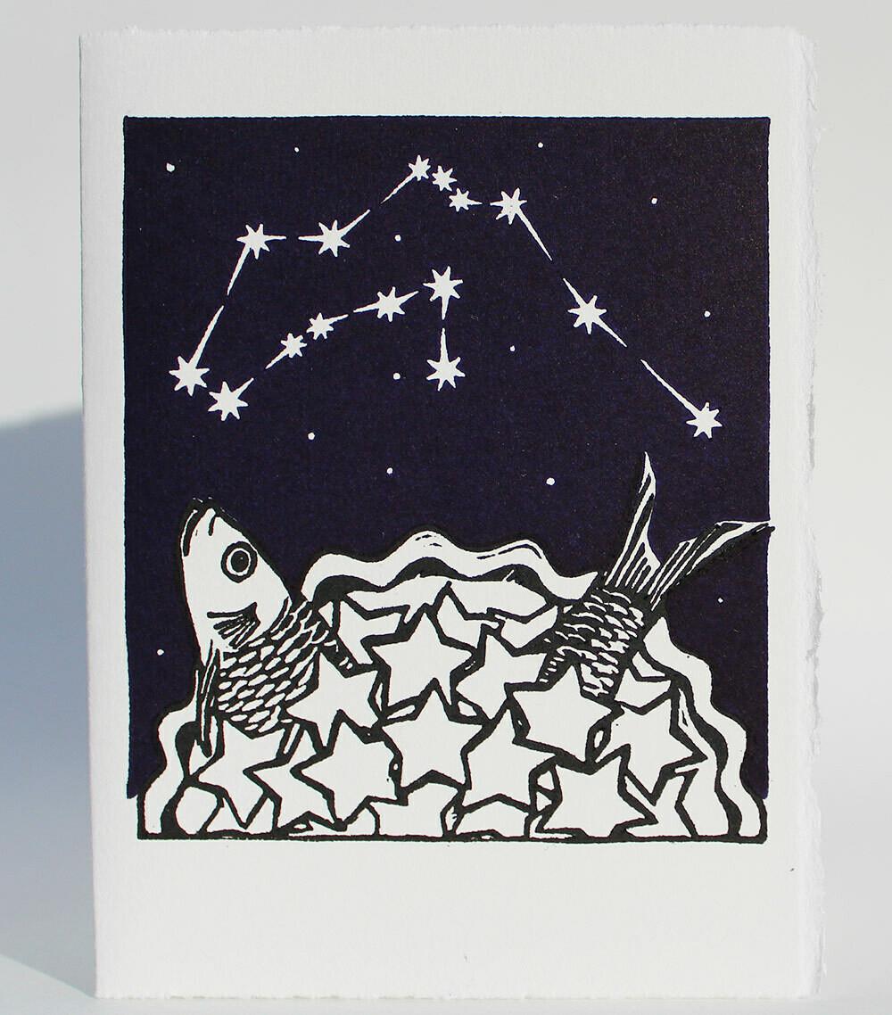 Aquarius Stargazey -Hand-printed card