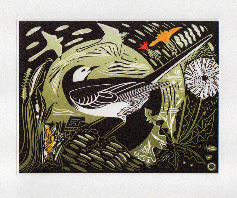 Pied Wagtail Printmakers Art Card