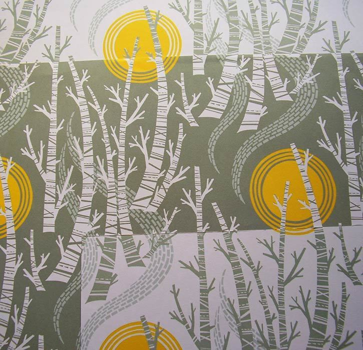 Birch Tree Sun    Wrapping paper Pack  - by Angie Lewin