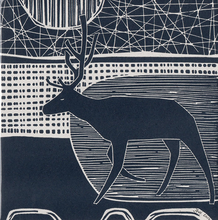 Winter Stag - Hand-printed  Card