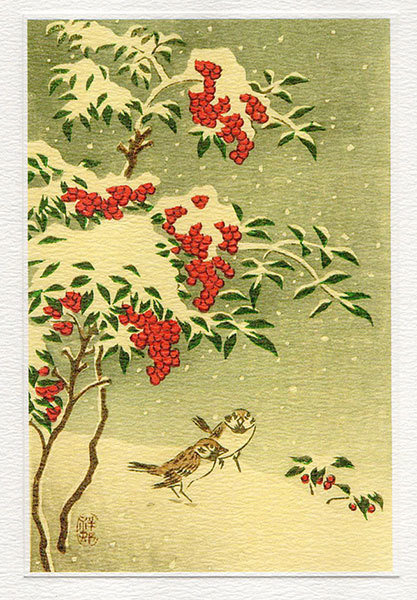 Sparrows in Snow - Winter Printmakers Card