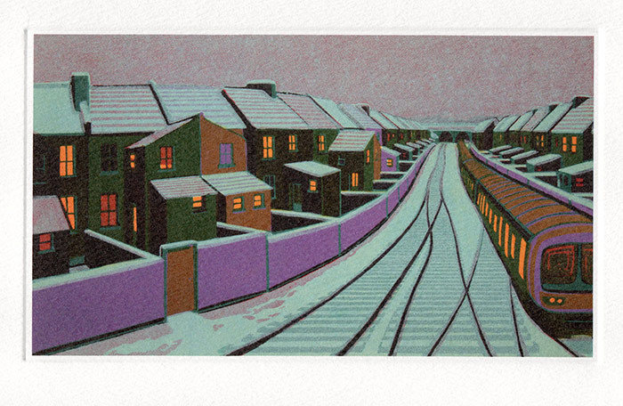 Snow in the Suburbs- Winter Printmakers Card