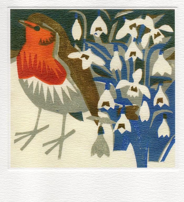 Snowdrops Robin - Winter Printmakers Card