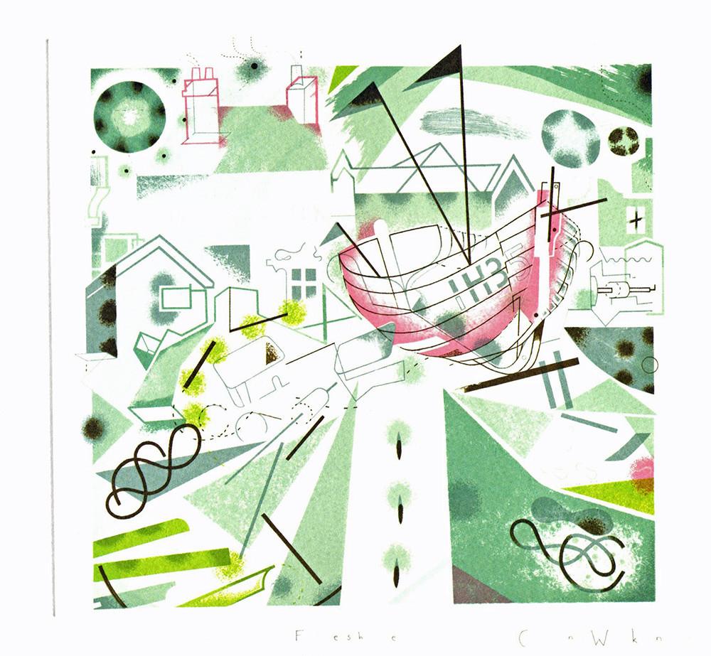 Foreshore- Printmakers Card