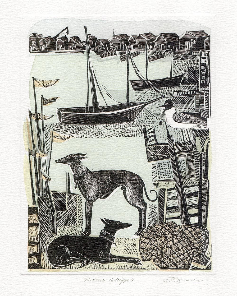Harbour Whippets- Printmakers card