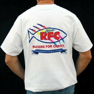 Racers For Christ Full Color Logo TShirt - White
