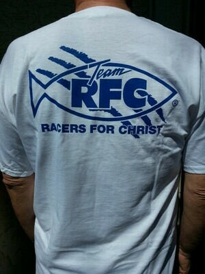 Racers For Christ Two Color Logo TShirt - White 3XL Only