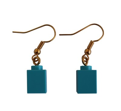 Turquoise Blue LEGO®​​​ brick 1x1 on a Gold plated dangle (hook)