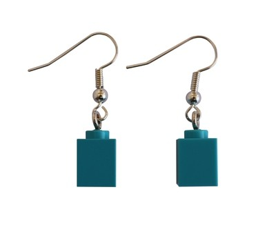 Turquoise Blue LEGO® brick 1x1 on a Silver plated dangle (hook)