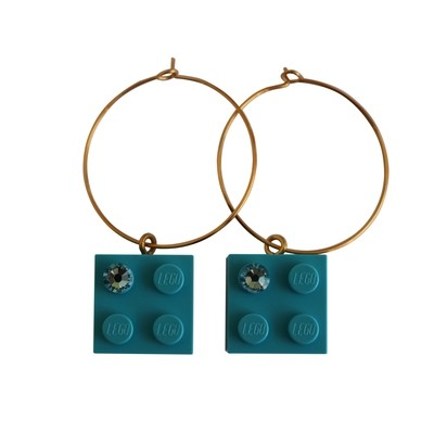 Turquoise Blue LEGO® brick 2x2 with a Blue SWAROVSKI® crystal on a Gold plated hoop