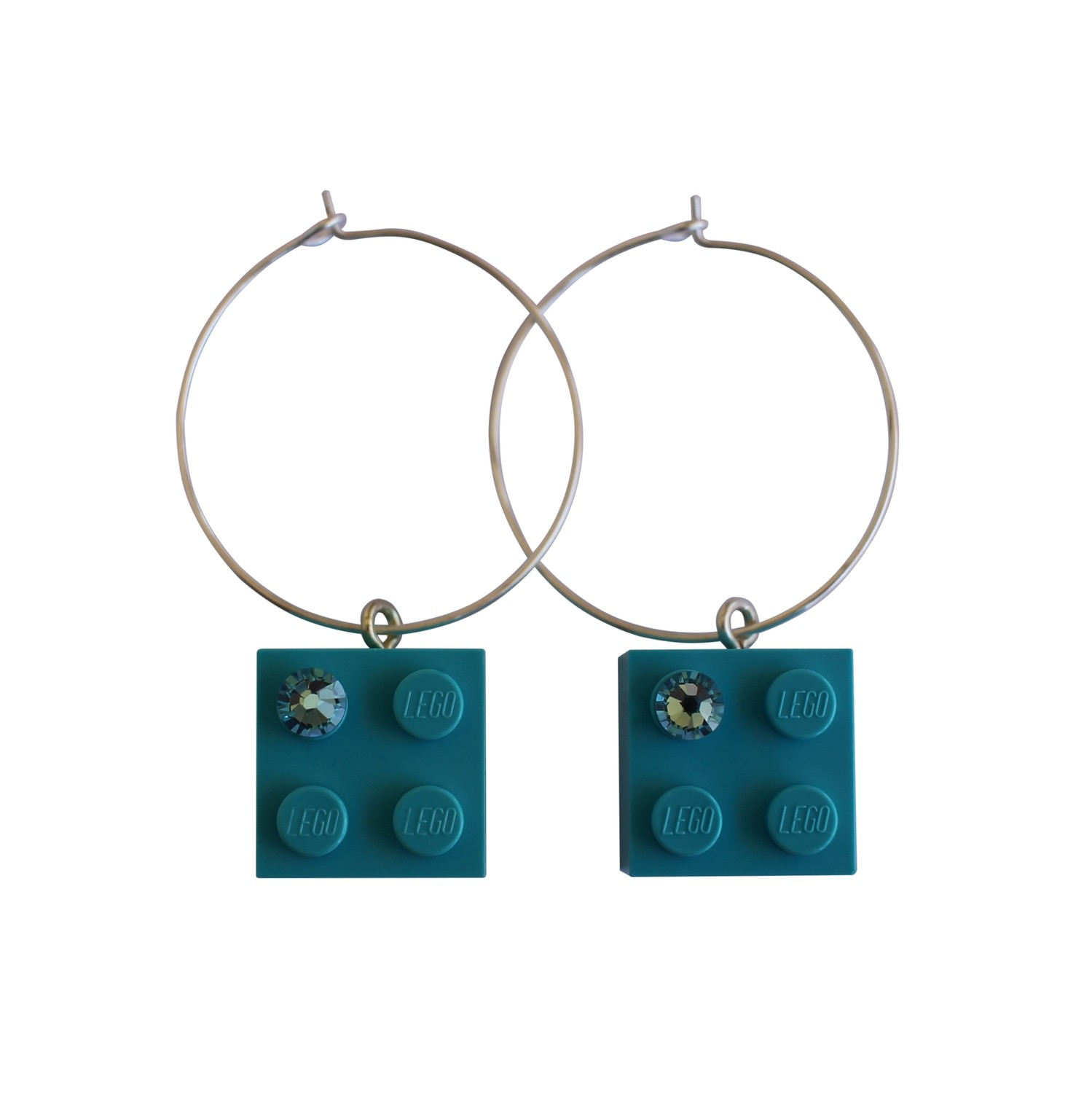 ​Turquoise Blue LEGO® brick 2x2 with a Blue SWAROVSKI® crystal on a Silver plated hoop