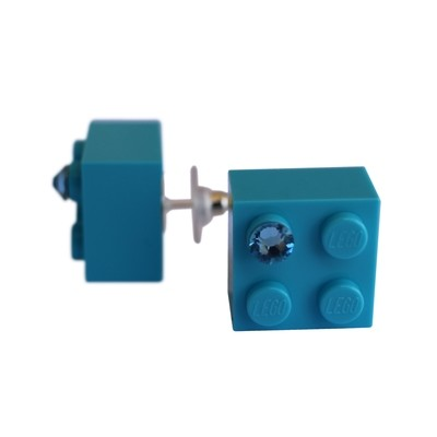 Turquoise Blue LEGO® brick 2x2 with a Blue SWAROVSKI® crystal on a Silver plated stud/silicone back stopper