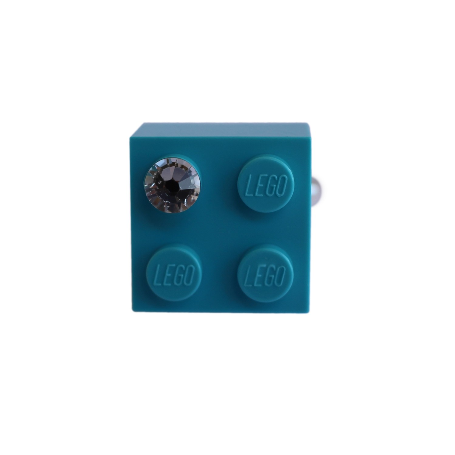 ​Turquoise Blue LEGO® brick 2x2 with a 'Diamond' color SWAROVSKI® crystal on a Silver plated adjustable ring finding