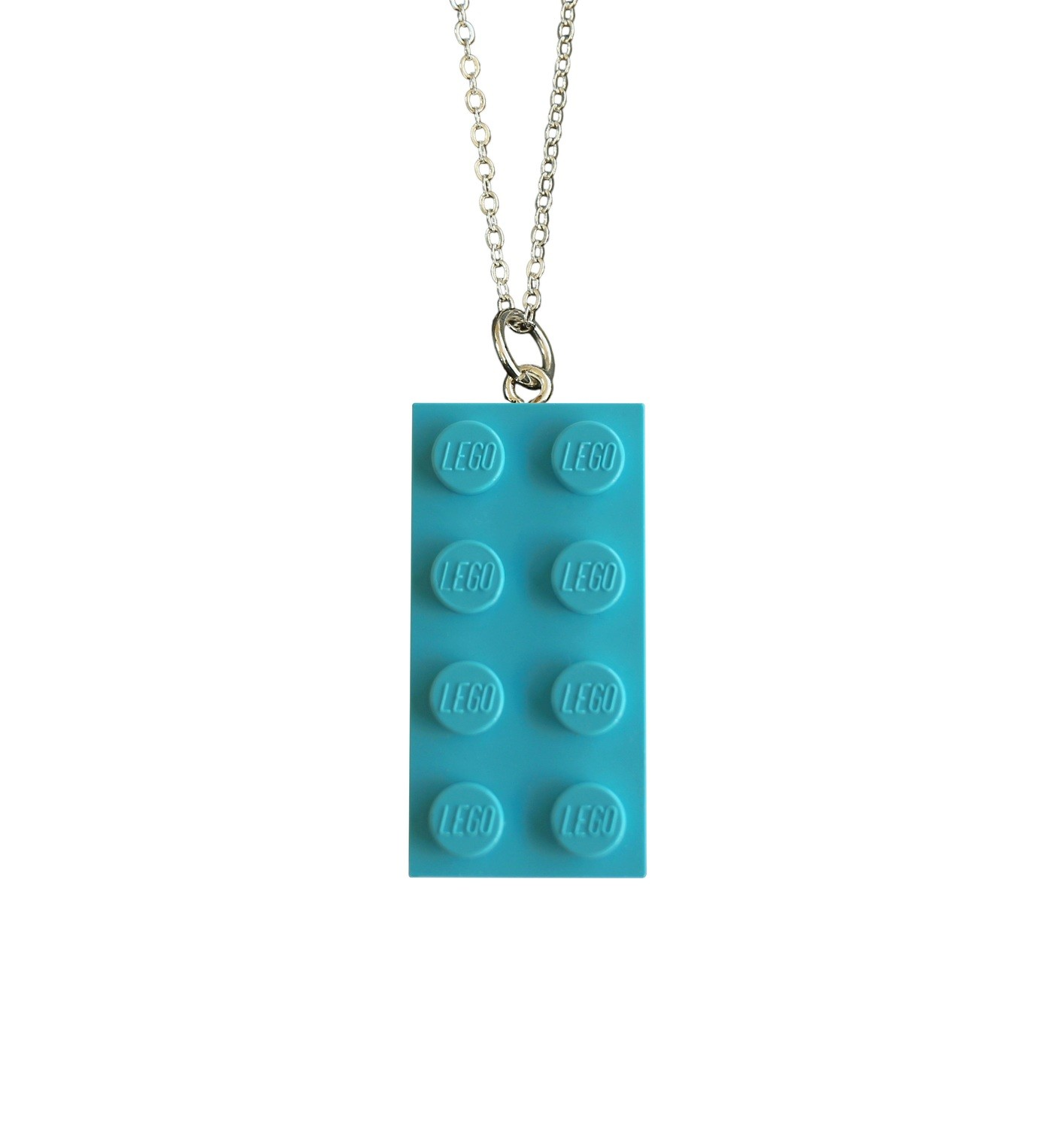 """Turquoise Blue LEGO® brick 2x4 on a Silver plated trace chain (18"""" or 24"""")"""
