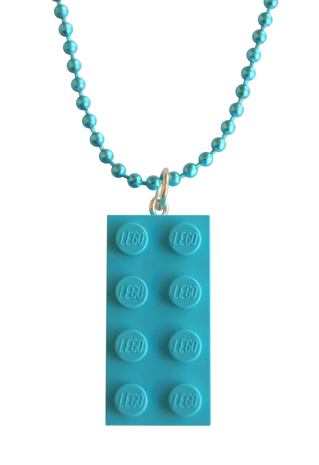"​Turquoise Blue LEGO® brick 2x4 on a 24"" Blue ballchain"