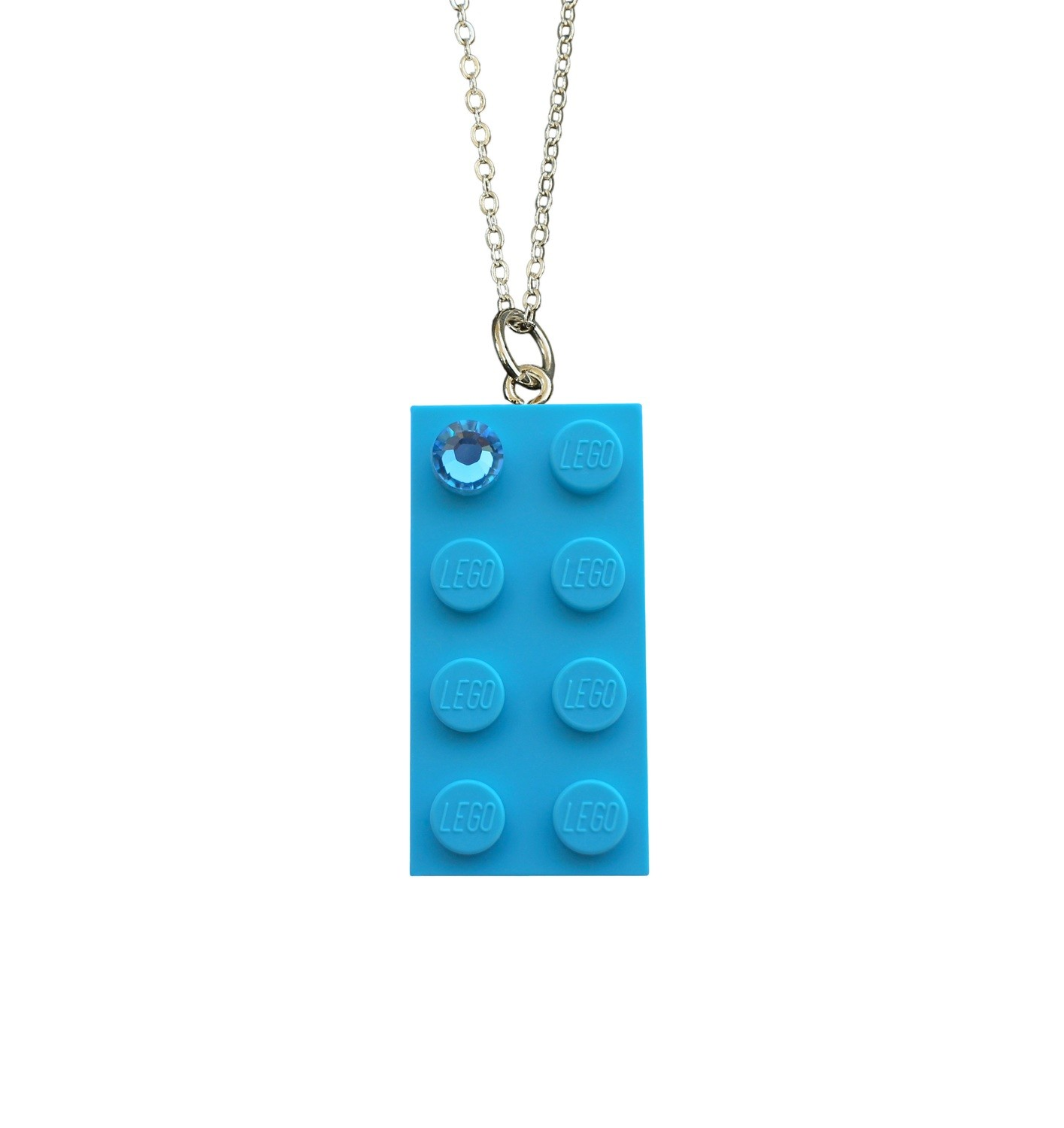 "Turquoise Blue LEGO® brick 2x4 with a Blue SWAROVSKI® crystal on a Silver​ trace chain (18"" or 24"")"