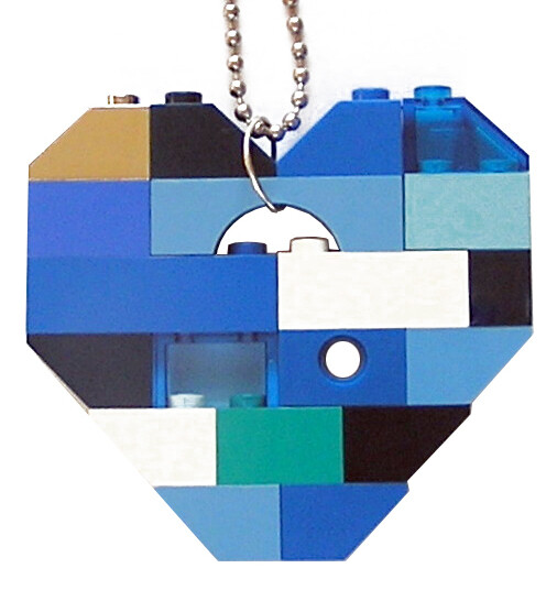 """Collectible heart pendant (Single thickness) Model 6 - made from LEGO® bricks on a 24"""" Silver plated ballchain - NAVY"""
