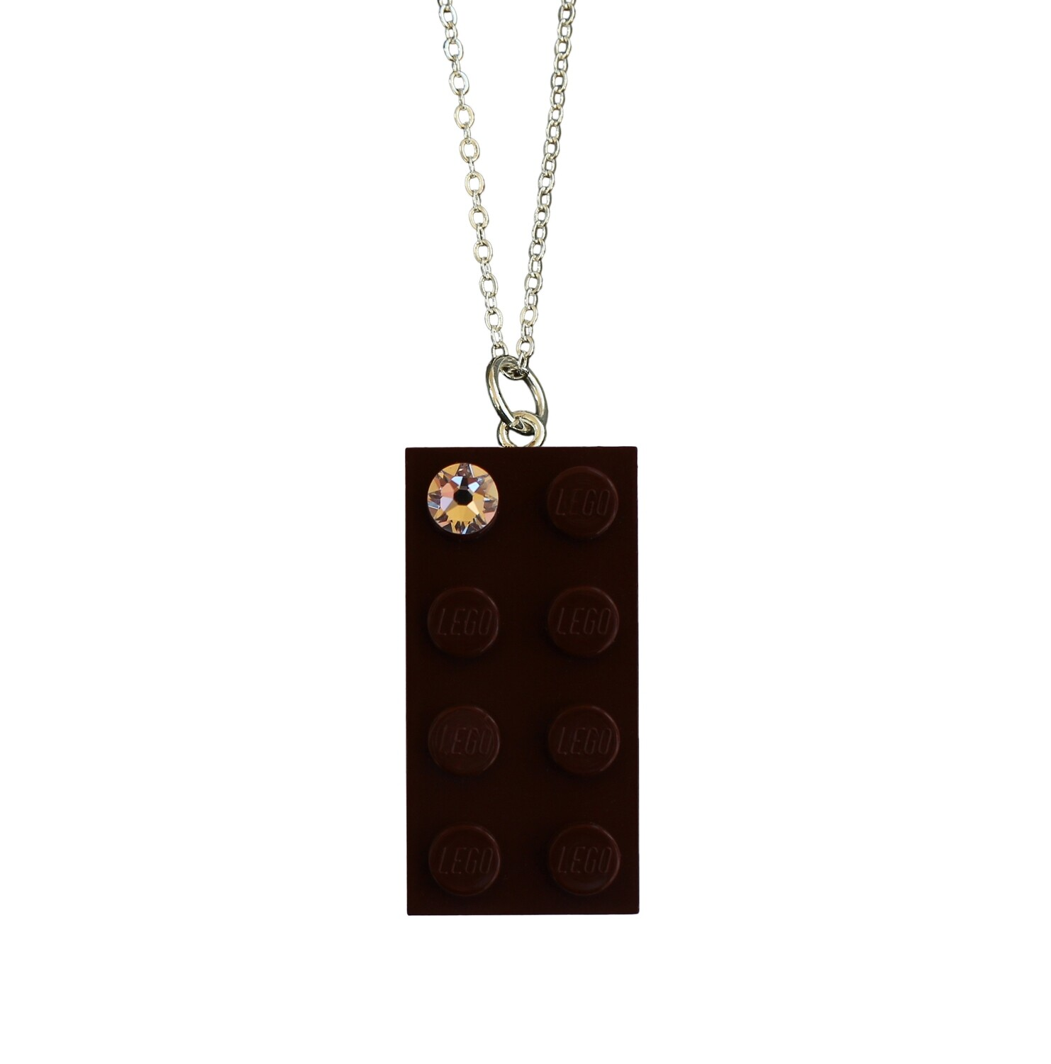 "Brown LEGO® brick 2x4 with a 'Diamond' color SWAROVSKI® crystal on a Silver plated trace chain (18"" or 24"")"
