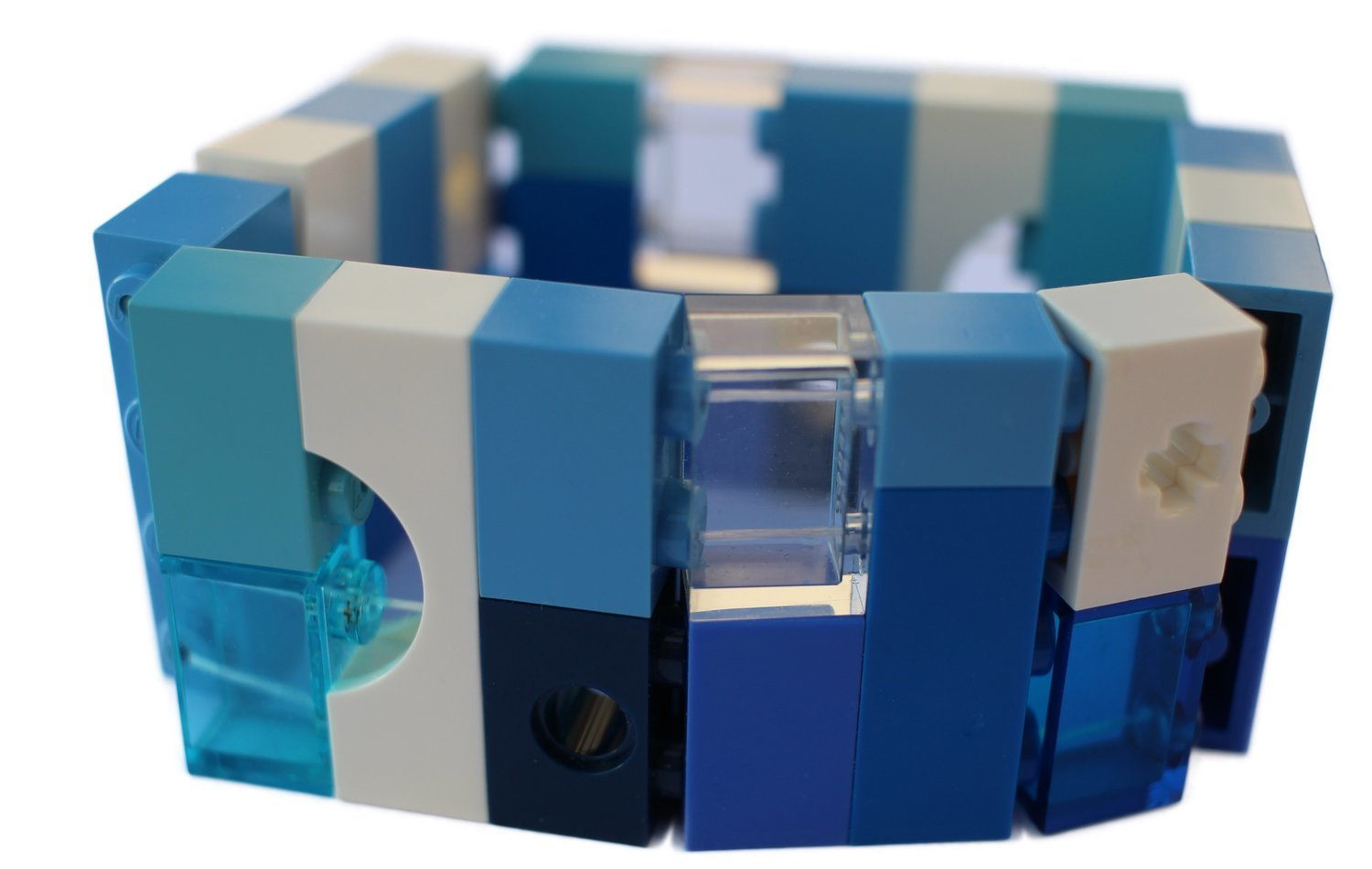 Collectible bracelet Model 9 - made from LEGO® bricks on stretchy cords - NAVY