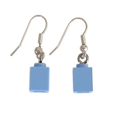 Light Blue LEGO® brick 1x1 on a Silver plated dangle (hook)