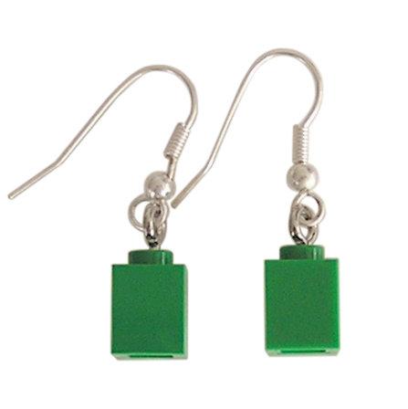 Dark Green LEGO® brick 1x1 on a Silver plated dangle (hook)