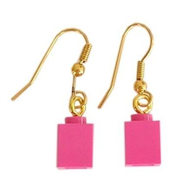 Dark Pink LEGO® brick 1x1 on a Gold plated dangle (hook)