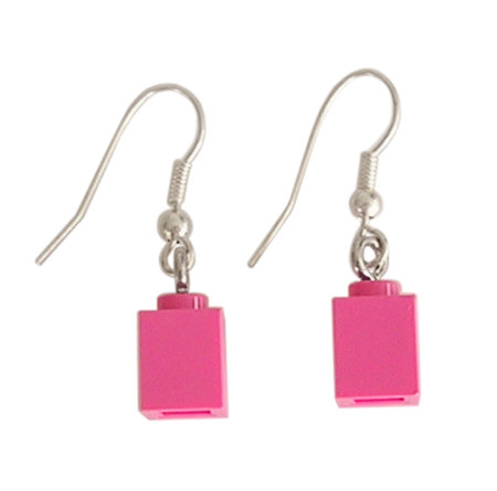Dark Pink LEGO® brick 1x1 on a Silver plated dangle (hook)