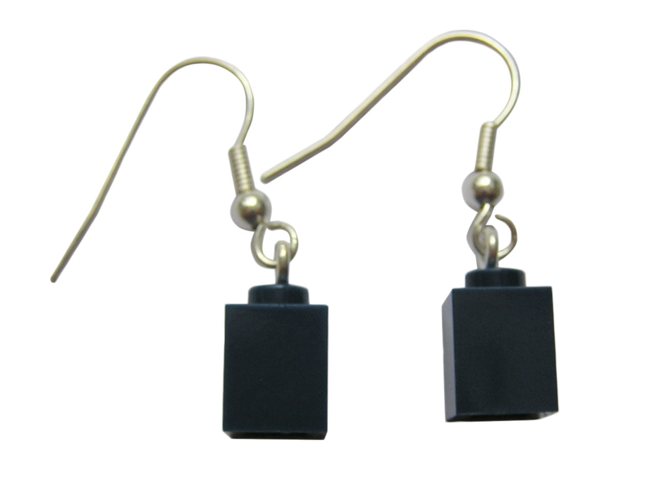 Gray LEGO® brick 1x1 on a Silver plated dangle (hook)