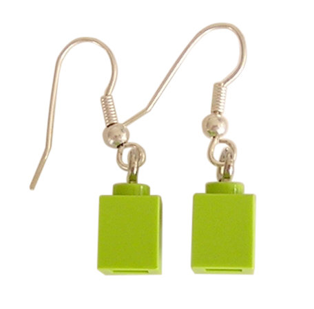 Light Green LEGO® brick 1x1 on a Silver plated dangle (hook)
