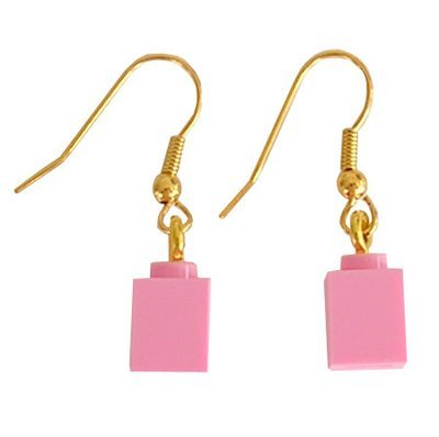 Light Pink LEGO® brick 1x1 on a Gold plated dangle (hook)