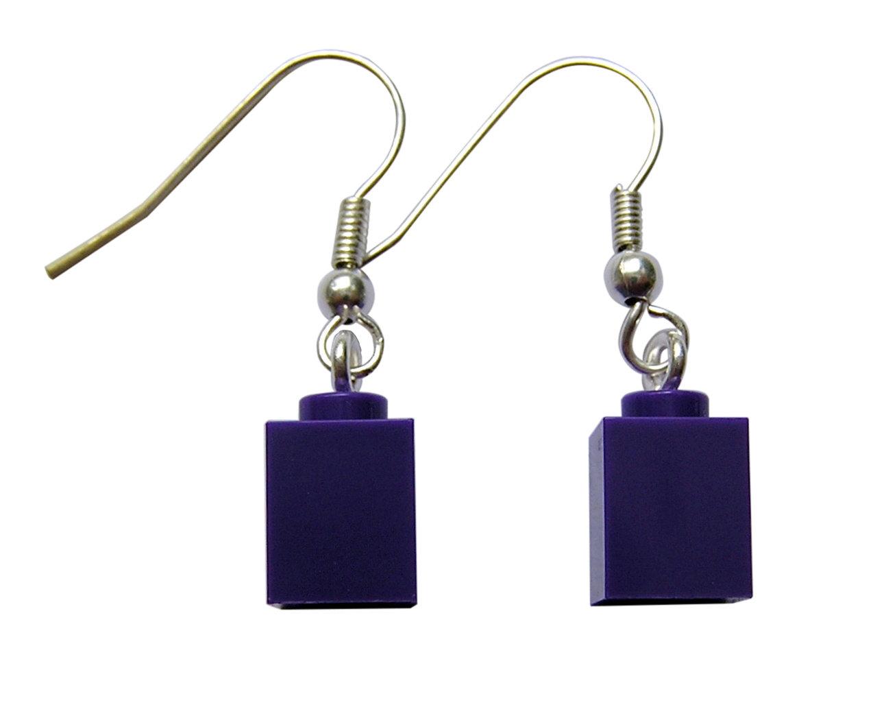 Purple LEGO® brick 1x1 on a Silver plated dangle (hook)