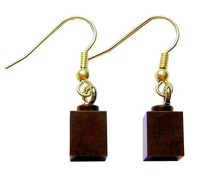 Brown LEGO® brick 1x1 on a Gold plated dangle (hook)