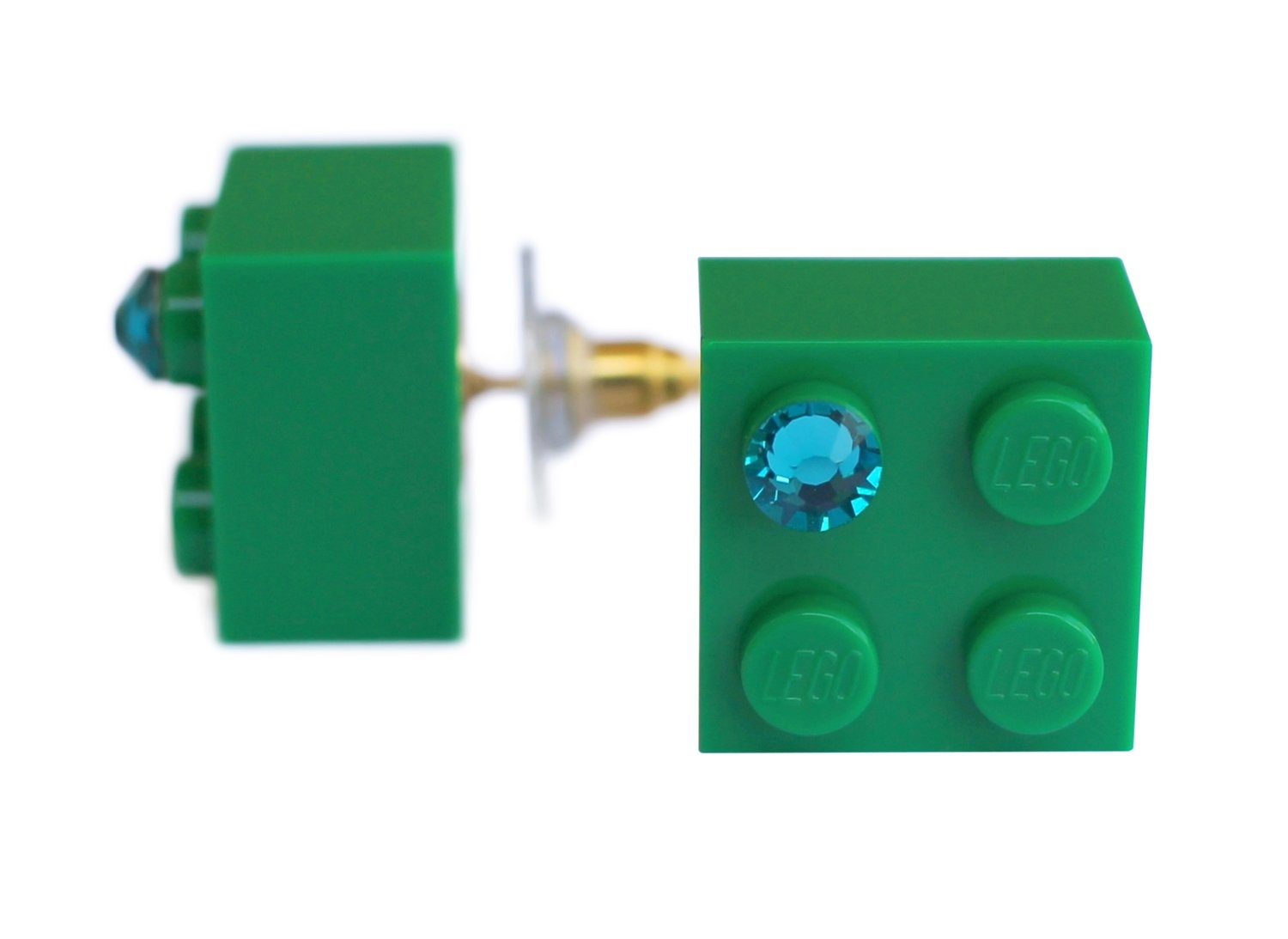 Dark Green LEGO® brick 2x2 with a Green SWAROVSKI® crystal on a Gold plated stud/silicone back stopper