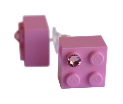 Light Pink LEGO® brick 2x2 with a Pink SWAROVSKI® crystal on a Silver plated stud/silicone back stopper