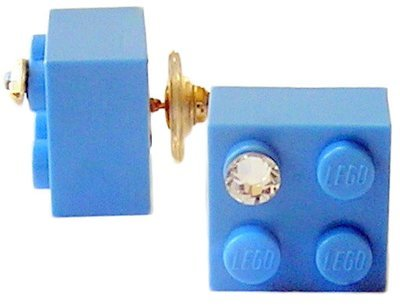 Light Blue LEGO® brick 2x2 with a 'Diamond' color SWAROVSKI® crystal on a Gold plated stud/silicone back stopper