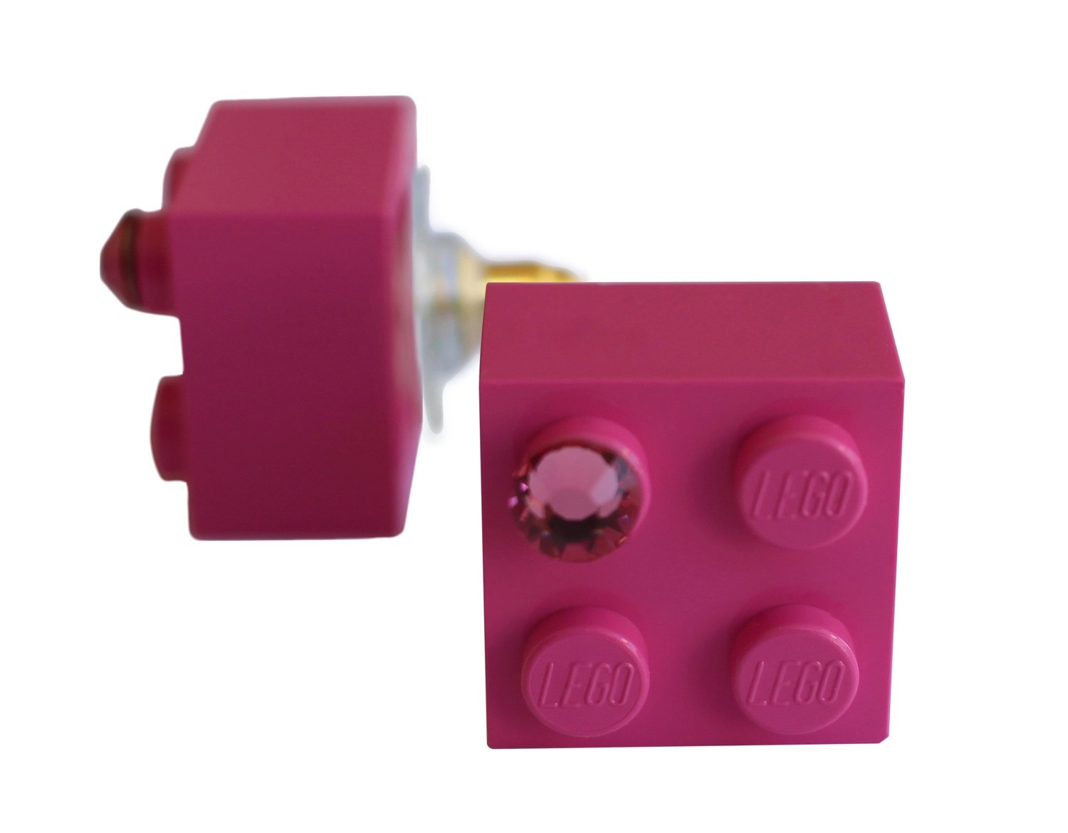​Dark Pink LEGO® brick 2x2 with a Pink SWAROVSKI® crystal on a Gold plated stud/silicone back stopper